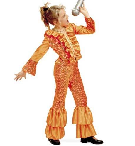 Josie 2tlg Show Anzug orange - Abba Kostüm Kinder