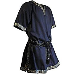 Elbenwald túnica Medieval Azul de Manga Corta con Cuello en V Dobladillo de Oro Hombres Bata Larp Robusta - XL