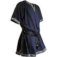 Ropa medieval - Túnica con ribetes Verus - azul - Sin cinturón - M