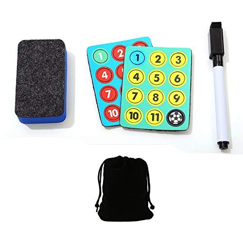 CHSEEO Fußball Taktikmappe Zubehörset(Magnete, Stifte, Radiergummi), Perfekt für Fußball Taktikboards, Büro, Whiteboards, Kühlschränke, Karten & Magnettafeln #2 -