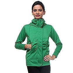 TeeMoods Womens Fleece Cotton Blend Full Sleeves Green Sweatshirt Hoodie Jacket With Zip For Ladies (Medium)