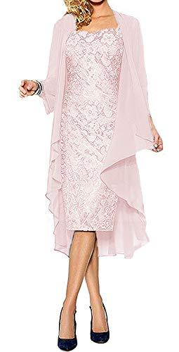 O.D.W Frauen Chiffon Kurze Formales Mutter der Braut Kleid mit Jacke Abendmode Ballkleider(Rosa, 44)