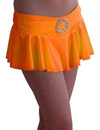 EyeCatch TM - Cynthia Damen stretch Mini Rock geriffelt mit Gürtelschnalle in Neonfarben