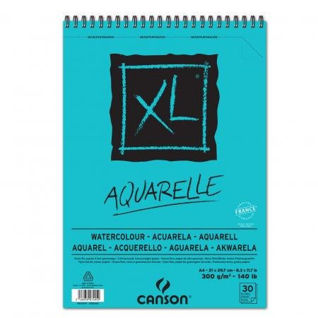 Bloc spiralé 30 feuilles XL® Aquarelle A4 300g/m², grain fin blanc - Lot de 4