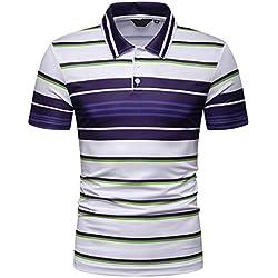 Cebbay Manga Corta de los Hombres Confort Casual a Rayas Camisetas Polos Camisas Tops(Azul, M)
