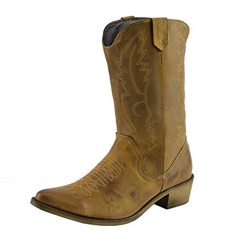 Kick Footwear Damen Western Leder Cowboy Stiefel Spitz Zehen Damen Breite Kalb Stiefel - UK 9 / EU 42, Tan
