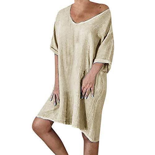 Elegantes Knielanges Sommerkleid Damen Leinen Kleider V-Ausschnitt Strandkleider Einfarbig A-Linie Kleid Leinenkleider Casual Lose Tunika T-Shirt Kleid Kurzarm Blusekleider große größen -