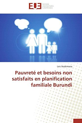 Pauvreté et besoins non satisfaits en planification familiale burundi
