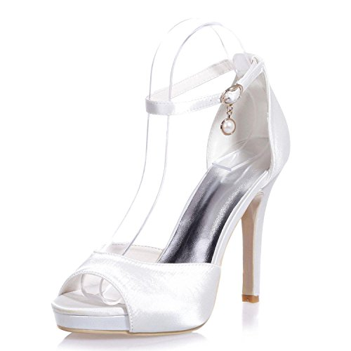 L@YC 5915-20 Scarpe da Sposa da Donna/Pendente Comfort/Peep Toe/Night Party & Casual Tacchi Alti/Multicolor, White, 39