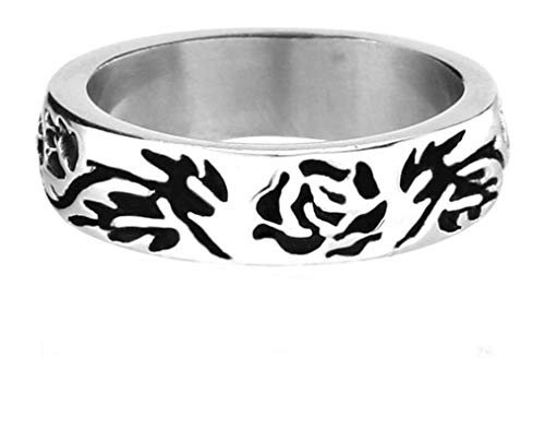 SonMo Ringe Herren Edelstahl Schädel Totenkopfrosen Blume Herrenring Silber Herrenring Edelstahl Totenkopf Silber Ring Schwarz Gothic Größe 60 (19.1)