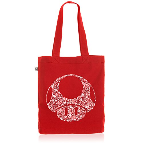 A.N.T. Super Toad Play Baumwoll-Beutel Jutebeutel Tasche Bag Mario Pilz Game Gamer, Farbe:Rot