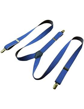 Lawevan® Hombres elástico y ajustable Blue Chack patrón británico Estilo Tirantes Y Shape Tirantes