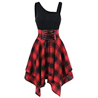 Fashion Women Sleeveless One-Shoulder Cross Lace Up Plaid Irregular Print Dress