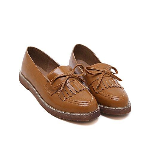 Damen Frühling Rund Zehen Faul Schuhe mit Schleife Soft Anti-Rutsch Gummi Sohle Blockabsatz Low-Top Schuhe Braun