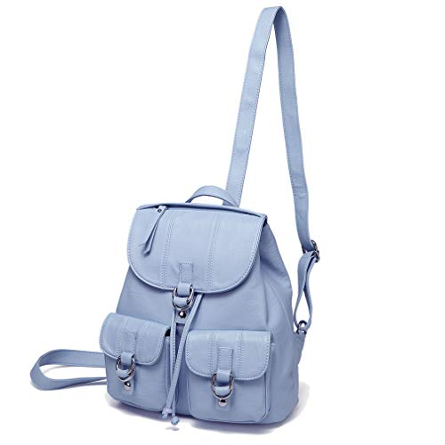 865c98d86da8f Backpack for Girls, Vaschy PU Leather Mini Backpack Purse Fashion Ladies  Rucksack Drawstring Backpack School Bag (Mini-Sky Blue)