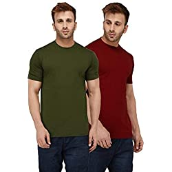 London Hills Solid Men Half Sleeve Round Neck Olive Green and Rust Red T-Shirt