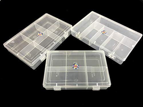 SPC Plastic Grid Box Organizer for Jewelry, Hair Pins, Medicines, Craft Material, Hardware with 6 Partitions/Sections, White (Combo of 3 Boxes)