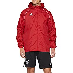 adidas Core 18 Rain Jacket Veste imperméable Homme, Power Red/White, FR : M (Taille Fabricant : M)
