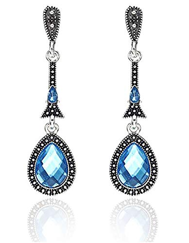 ik Ohrringe Ohrstecker Damen – Steine blau klein hängend – Silber Edelstahl allergiefrei ()