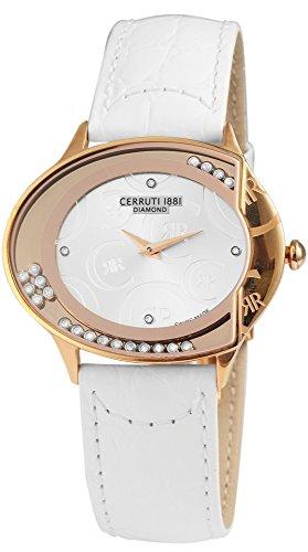 Cerruti Montre pour femme avec bracelet en cuir véritable Blanc Or Rose Acier Inoxydable élégant ccrwdo011s216N