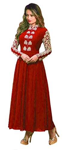 Red Color Georgette Fabric Embroidery Salwar - suit (Semi-Stitched) (Dhruv Fab New Arrival Latest Best Choice and Design Beautiful Sarees and Salwar suits and Dress Material Collection For Women and Girl Party wear Festival wear Special Function Events Wear In Low Price With Todays Special Offer with Fancy Pattern Designer Blouse and Bollywood Collection 2017 Good Looking Clothes )