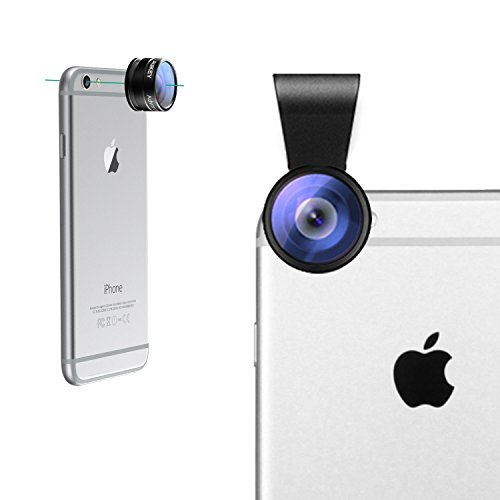 new style f57e3 2b81d Aukey 2 in 1 Mini Clip-on Cell Phone Camera Lens Kit, 180 Degree Supreme  Fisheye Lens + 20 X Macro Lens for iPhone 6S, 6S Plus, Samsung Galaxy, ...