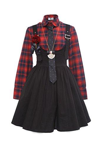 Langarm Popeline-uniform (Damen Schul Uniform Rot Plaid Langarm Hemd mit schwarzen Lolita Hosenträger Rock)