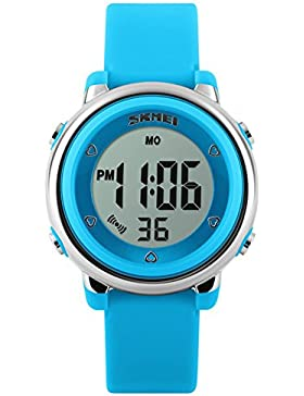 Ola-Skmei Kinder SK1100F Farbige Armbanduhr, mit LED-Licht wasserdicht digital Armbanduhr Blau