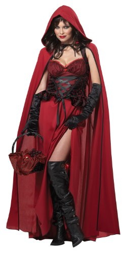 Ladies Dark Red Riding Hood Story Halloween Fancy Dress Costume, Black,Red, Small