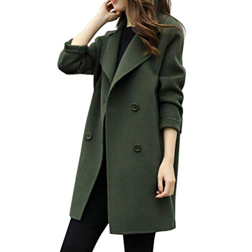 Mäntel Damen Herbst Winter Coat Zweireiher Revers Langarm Classic Unifarben Parka Casual Mantel Young Fashion Lang Outerwear Trenchcoat Frauen (Color : Armeegrün, Size : XL)