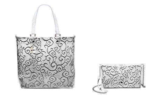 "BI-BAG borsa donna modello EASY ""METAL COLLECTION"" + pochette Silver"