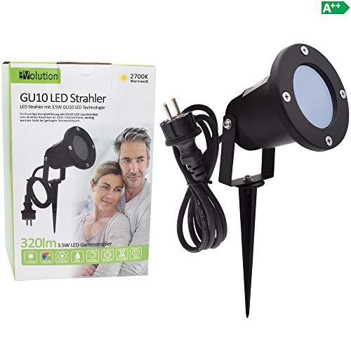 Evolution LED Strahler 3,5W mit Erdspieß, Kabel und Stecker LED Gartenlampe 230V IIP65 inkl. GU10 LED Gartenstrahler Strom Anschlußkabel stehend LED Außenleuchte für Steckdose