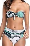 UMIPUBO Bikini Bandeau Donna Push Up Imbottito Costumi da Mare Due Pezzi retrò Costumi da Bagno Spiaggia Beachwear Foglia di Palma Swimwear