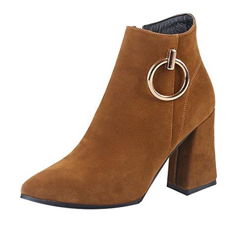 feletten Blockabsatz High Heels Boots mit Fell und Reißverschluss Herbst Winter Work Office Schuhe (Office Halloween Kostüme)
