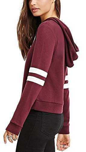 Minetom Femme Automne Hiver Sweats à Capuche Pull Hoodies Hauts Pullover Tops Jumper Chemisier Vin rouge