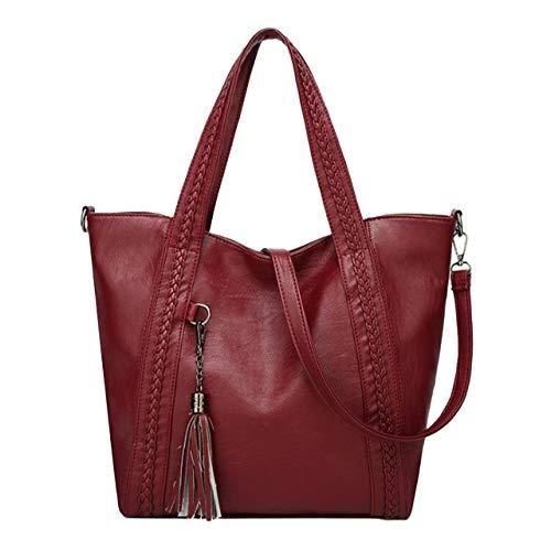dudubaobei Handtasche Mode Eine Schulter Tragen Tasche Flut Diagonal Tassel Handtasche f-Winered