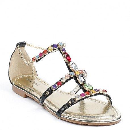 Ideal Shoes - Sandales plates avec brides incrustées de strass Victoirine Noir