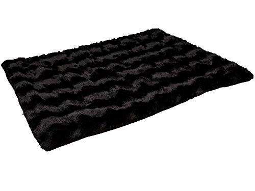 CopcoPet Hundedecke Cheyenne ca.100 x 80cm, Schwarz, waschbare Fleecedecke Hund, dicht gewebte Tierdecke, kuscheliger Schlafplatz für Hunde & Katzen