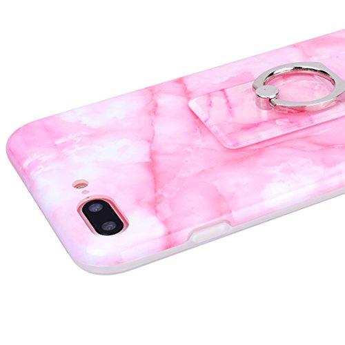 GrandEver iPhone 8 Plus Hülle Weiche Silikon mit Ring Ständer Halter Marmor Muster Handyhülle TPU Bumper Schutzhülle für iPhone 8 Plus Rückschale Klar Handytasche Anti-Kratzer Stoßdämpfung Ultra Slim  Rosa