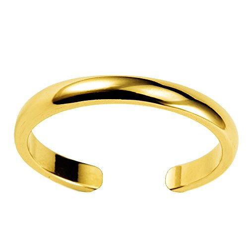 JewelryAffairs 14K Gelb Gold glänzend Manschette Stil verstellbar Zehenring 3mm