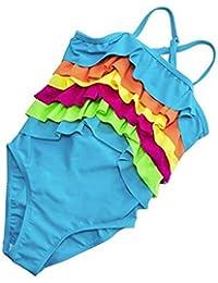 Wantdo Traje de Baño Una Pieza para Niñas de Color Arcoíris