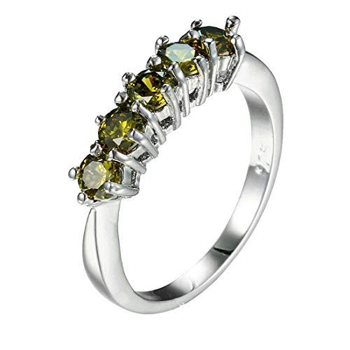 Mabo Collection Damen Ringe Silber Peridot Quarz im Facettenschliff mit Stempel Größe: 55 (17.5) Ausverkaufspreis