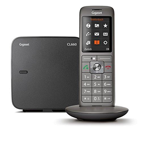 Gigaset CL660 -  Schnurlostelefon ohne Anrufbeantworter - DECT Telefon - modernes Design Telefon - ein Mobilteil mit TFT-Farbdisplay - großes Adressbuch, anthrazit-metallic