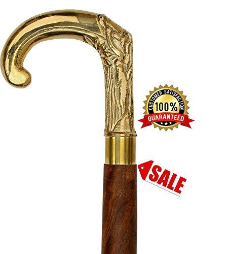 SouvNear caña - 95,5 cm bastón madera mango latón