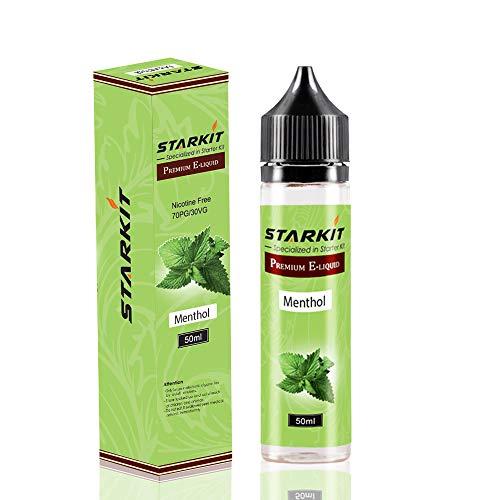 STARKIT E Liquids 1 X 50ml with 60ml Flasche, Shortfill Bottles,Menthol Geschmack für E Zigarette Starter Set SMOK E Shisha, E-Liquids Aroma PG70/VG30 Ohne Nikotin (Menthol)