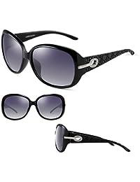 2DAWANG  Gafas de Sol Nueva Moda Retro Big Frame Tide Female Essential Elegant Rhinestone Espejo de conducción (Color : Black)