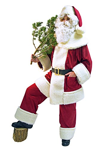 Nikolaus Weihnachtsmann Kostüm Hochwertig Schäfchenplüsch Rustikal (Santa Kostüm)