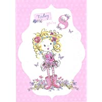 8th Birthday Card Age 8 Card with Glittery Floral Design Showing Girl in Pink Wellington Boots