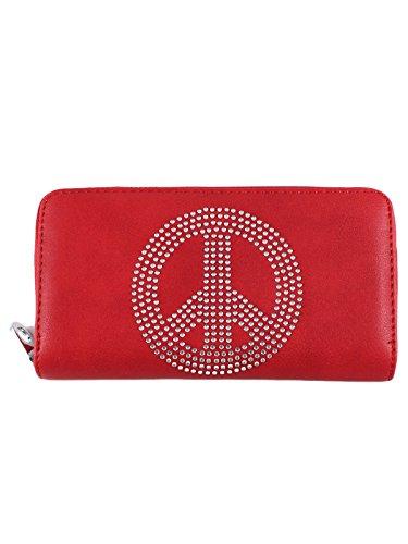 Schompi Cartera horizontal del símbolo de paz para mujeres, cuero de imitación, con los diamantes artificiales, gran capacidad, Varios colores, Color:Rojo