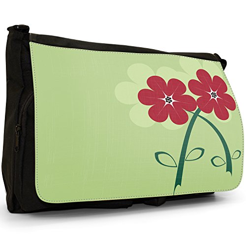 Fancy A Bag Borsa Messenger nero Abstract Red Flowers Beautiful Red Flowers in Wonderful Green Design